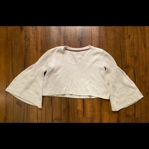 Free People White Bell Sleeve Cropped Sweater